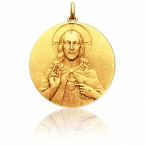 Médaille 2 faces Christ et Vierge Or Jaune 18K