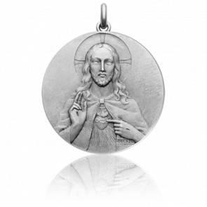 Médaille Christ et Vierge Scapulaire Or Blanc 18K