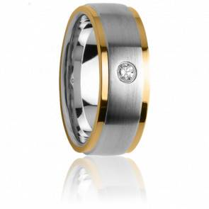 Alliance Idothée Acier, Or Jaune 18K & Diamant