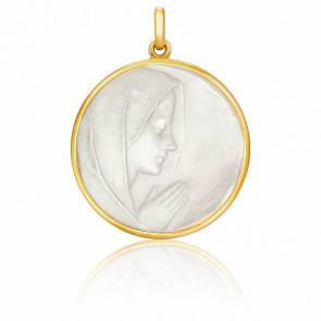 Médaille Vierge en Prière Nacre & Or Jaune 18K