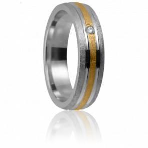 Alliance Mégara 5 mm 2 ors 18K et diamant