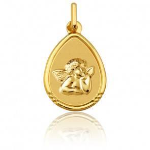 Médaille Goutte Ange Raphaël à Bordure en Or Jaune 18K