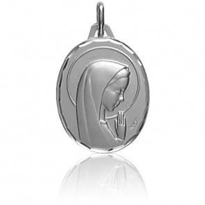 Médaille Ovale Vierge Profil en Prière Or Blanc 18K