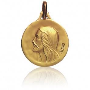 Médaille Ronde Christ de Profil Or Jaune 18K