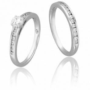 Duo Alliance & Solitaire Bernard, Diamant 0,40 ct & Or Blanc 18K