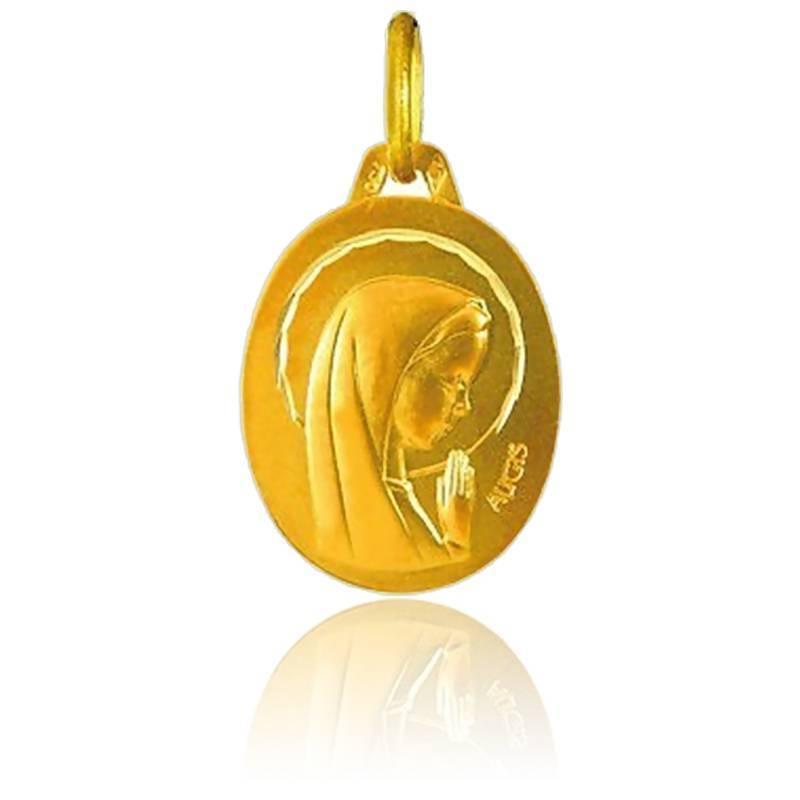Médaille Ovale Vierge Auréole Facettée Or Jaune 18K