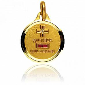 Médaille de l'Amour Ronde & Polie Or Jaune 18K
