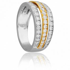 Bague Duo 3 Rangées 2 Ors & Diamants