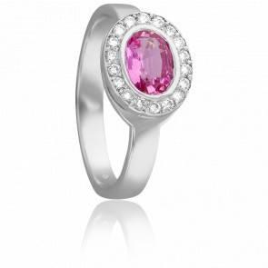 Bague Or Blanc 18K Saphir Rose & Diamants