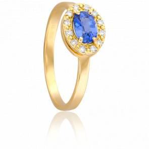 Bague Or Jaune 18K Saphir & Diamants