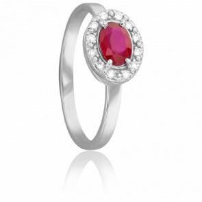 Bague Ovale Rubis 0,60ct et Diamants 0,10 ct or blanc 18k