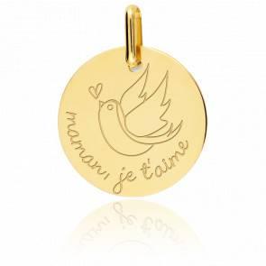 Médaille Maman Je T'aime Or Jaune