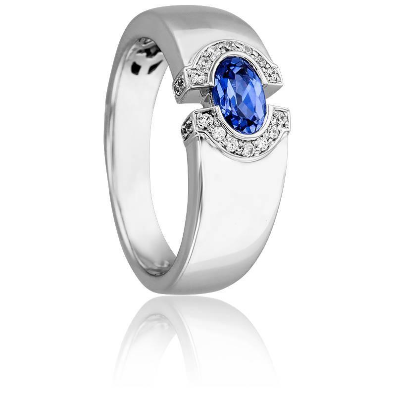Bague Oeil de Lune or blanc 18K, saphir & diamant