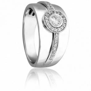 Bague Leucosie or blanc 18 k et diamant solitaire 0.25 ct