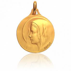Médaille Ronde Vierge Rêveuse Auréolée Or Jaune 18K