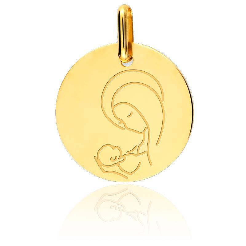 Médaille Vierge A l'Enfant Or Jaune 18K