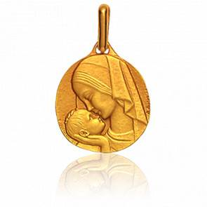 Médaille Vierge Amour Maternel Or Jaune 18K