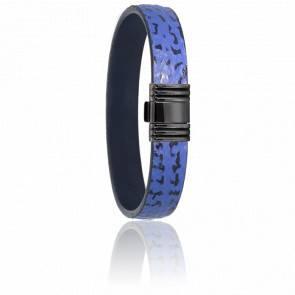 Bracelet 696 Cuir de Requin Bleu & Acier Noir