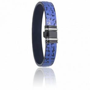 Bracelet 698 Cuir de Requin Bleu, Acier & Or Blanc 18K