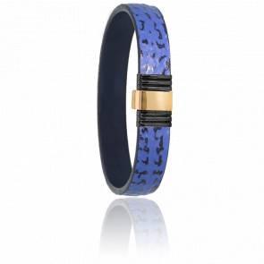 Bracelet 699 Cuir de Requin Bleu, Acier & Or Jaune 18K