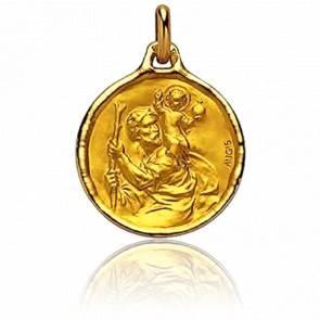 Médaille Saint Christophe Ronde Or Jaune 18K