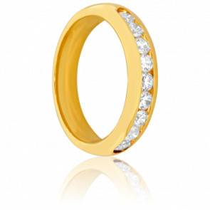Alliance Cavally or jaune 18K et diamants