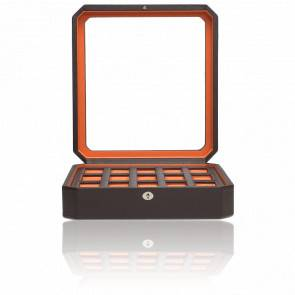 Coffret Simili Cuir Marron Orange Windsor 15 montres