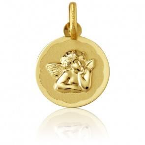 Médaille Ronde Ange Raphaël Motif Fleuri Or Jaune 9K