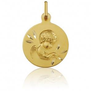 Médaille Ange Etoilé Or Jaune 9K
