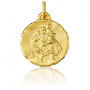 Médaille Ronde Saint Christophe Or Jaune 9K