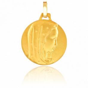 Médaille Vierge au Voile Etoilé Or Jaune 9K