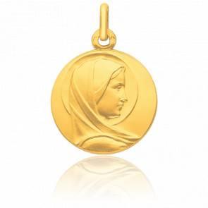 Médaille Vierge Bienveillante Auréolée Profil Or Jaune 9K