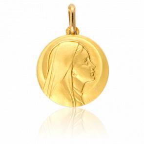 Médaille Vierge Profil Droit Or Jaune 9K
