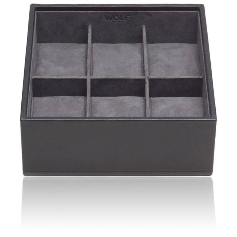 Coffret Standard Simili Cuir Noir 6 Montres Stackable Watch Trays