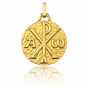 Médaille Chrisme Martelée Or Jaune 9K