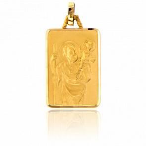 Médaille Saint Christophe Rectangulaire Or Jaune 18K