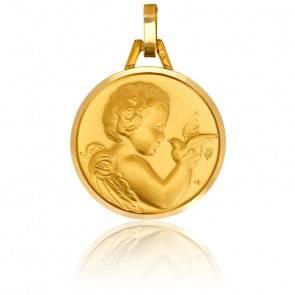 Médaille Ange à la Colombe Bords Polis Or Jaune 18K