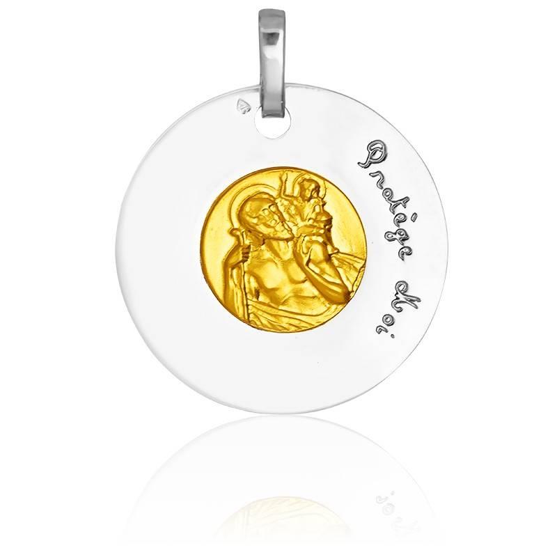 Médaille Bicolore Saint Christophe 2 Ors 18K
