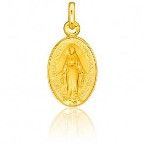 Médaille Vierge Miraculeuse Bord Poli, Or Jaune 18K