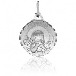 Médaille Ange à l'Arc Or Blanc 18K