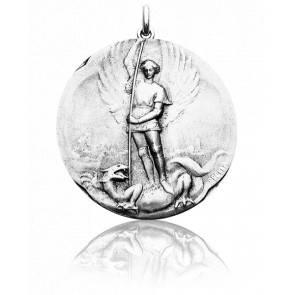 Médaille Saint Michel Or Blanc 18K
