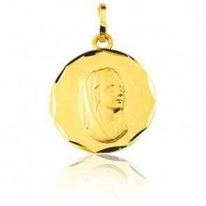Médaille Ronde Vierge Profil Or Jaune 9K