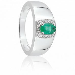 Bague Sophia Or Blanc, Emeraude & Diamant