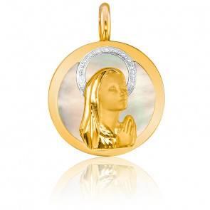 Médaille Vierge En prière Nacre 2 Ors 9K