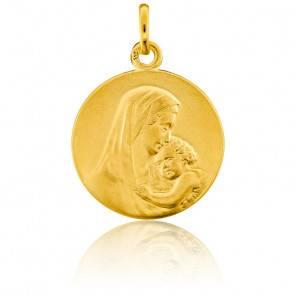 Médaille Ronde Vierge à l'Enfant Or Jaune 9K