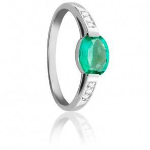 Bague Ovale, Or Blanc 18K, Diamants & Emeraude