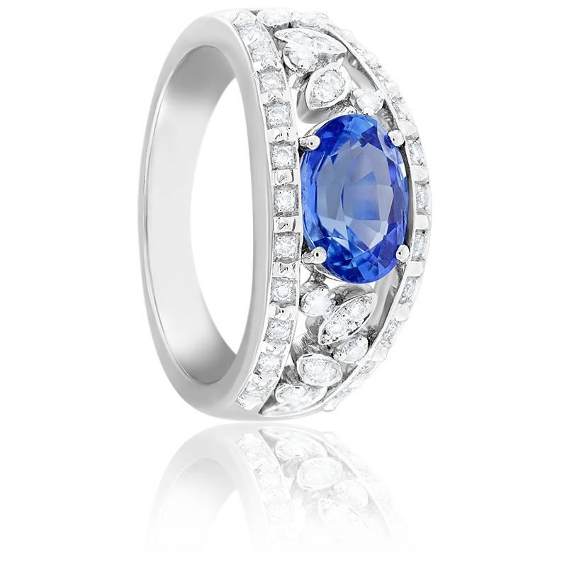 Bague Eléonore, Or Blanc 18K, Saphir & Diamants
