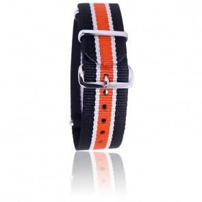 Bracelet Nato Noir/beige/orange