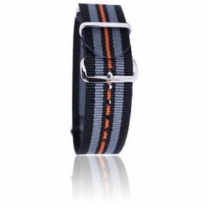 Bracelet Nato Noir/gris/orange