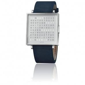 Qlocktwo W39 Fine Steel Leather Suede Dark Blue